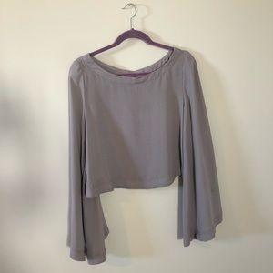 Free People pale purple flowy sleeves top